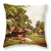 A Cottage Home In Surrey Throw Pillow