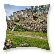 A Cottage In Ruins Throw Pillow
