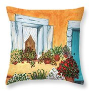 A Cottage In The Village Throw Pillow