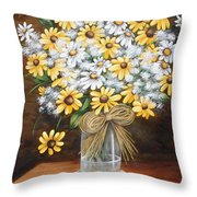 A Country Bouquet Throw Pillow