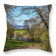 A Country Pathway In Northern England Throw Pillow