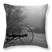 A Country Scene In Black And White Throw Pillow