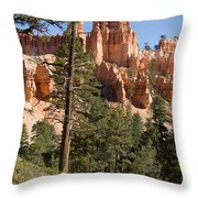 A Couple Hikes Along A Trail In Bryce Throw Pillow