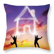 A Couple Jump And Make A House Symbol Of Light Throw Pillow