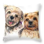 A Couple Of Yorkies Throw Pillow