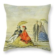 A Couple Seated And A Couple Walking On The Beach Throw Pillow