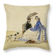 A Couple Seated On The Beach With Two Dogs Throw Pillow