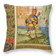 A Court Fool Of The 15th Century. 19th Throw Pillow