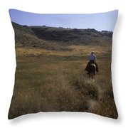 A Cowboy Looks For His Herd Throw Pillow