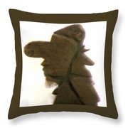 A Cowboy's Shadow In Rock - 2 Throw Pillow