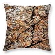 A Crack On A Brown Stone Block Throw Pillow
