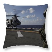 A Crew Chief Watches A Ch-46e Sea Throw Pillow
