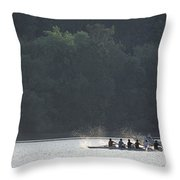 A Crew Team Rowing On The Potomac River Throw Pillow