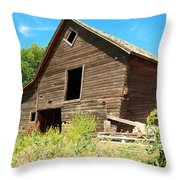 A Crooked Old Barn  Throw Pillow
