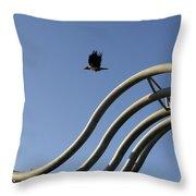 A Crow In Flight, Arhus, Denmark Throw Pillow
