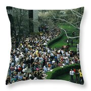 A Crowd Gathers Around Keenelands Throw Pillow by Melissa Farlow