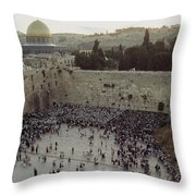 A Crowd Gathers Before The Wailing Wall Throw Pillow
