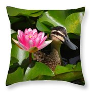A Curious Duck And A Water Lily Throw Pillow