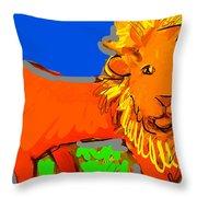 A Curious Lion Throw Pillow