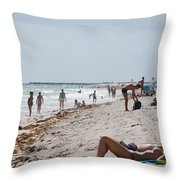A Day At Paradise Beach Throw Pillow