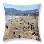 A Day At The Beach In Santa Monica Throw Pillow