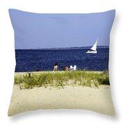 A Day At The Beach - Martha's Vineyard Throw Pillow