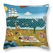 A Day At The Beach Missquamicut Rhode Island Throw Pillow