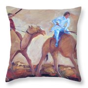 A Day At The Camel Races Throw Pillow