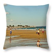 A Day At Wells Beach Throw Pillow