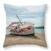 A Day Of Fishing Aground Throw Pillow