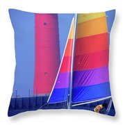 A Day Of Sailing Throw Pillow