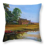 A Day On The Canal Throw Pillow