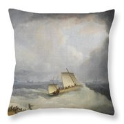 A Deal Lugger Going Off To Storm Bound Ships In The Downs Throw Pillow
