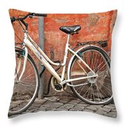 A Dejected Bicycle Waits Patiently On A Cobbled Street In Rome. Throw Pillow