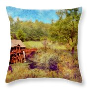 Grist Mill With Flowing Water Throw Pillow