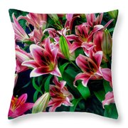 A Display Of Lilies Throw Pillow