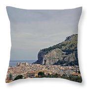 A Distant View Cefalu Sicily Throw Pillow