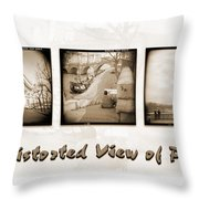 A Distorted View Of Paris Throw Pillow