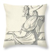 A Distraught Woman With Her Head Thrown Back Throw Pillow