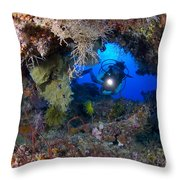 A Diver Peers Through A Coral Encrusted Throw Pillow