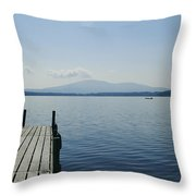 A Dock Juts Into The Throw Pillow