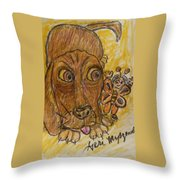 A Dog And It's Bumblebee Throw Pillow