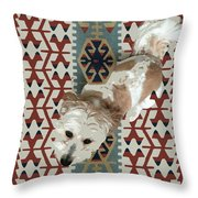 A Dog In On A Rug Throw Pillow