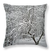 A Dogwood Sleeps While The Snow Falls Throw Pillow