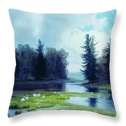 A Dreary Day At The Pond Throw Pillow