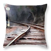 A Dreary Day On The Rail Line Throw Pillow