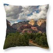 A Drive Through The Red Rocks  Throw Pillow