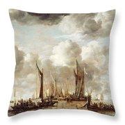 A Dutch Yacht Firing A Salute As A Barge Pulls Away Throw Pillow
