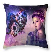 A Fairy Butterfly Kiss Throw Pillow
