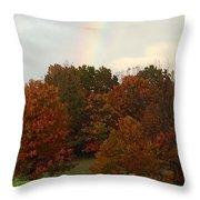 A Fall Rainbow Throw Pillow